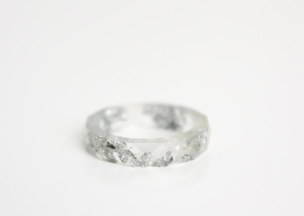 clear and silver size 5.5 thin multifaceted eco resin ring