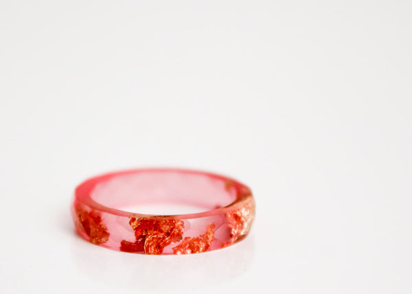 resin ring - size 8.5 transparent hot summer pink with gold and copper leaf  thin multifaceted eco resin ring