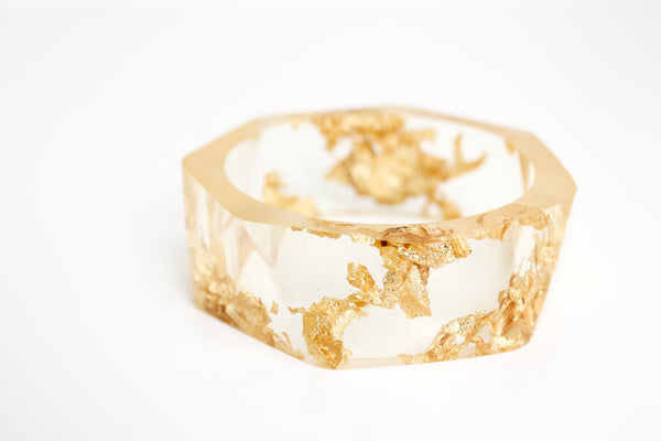 clear gold bracelet resin bangle made with eco resin containing gold flakes with large triangle facets