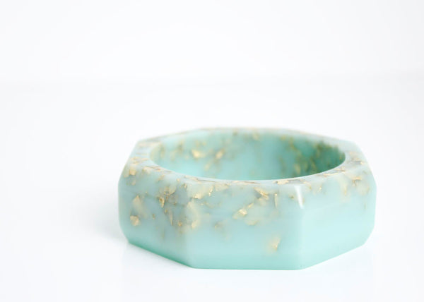 statement jewelry mint gold octagonal eco resin faceted bangle with metallic gold flakes