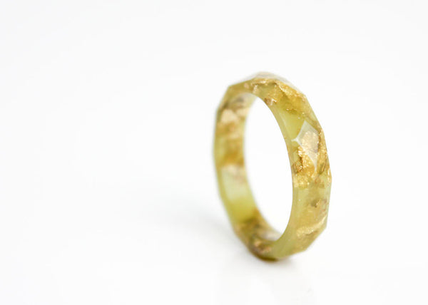 size 10 olive green resin ring metallic gold leaf geo faceted eco resin ring