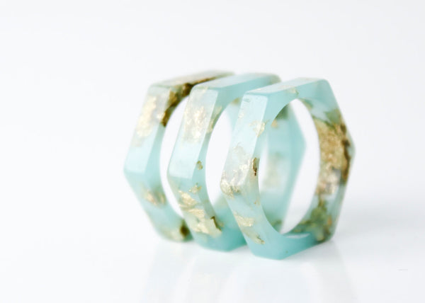 size 7.5 thin hexagonal eco resin ring | sea glass green with metallic gold leaf flakes