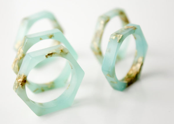 stacking ring size 9 | thin hex eco resin ring | seafoam green with gold leaf flakes
