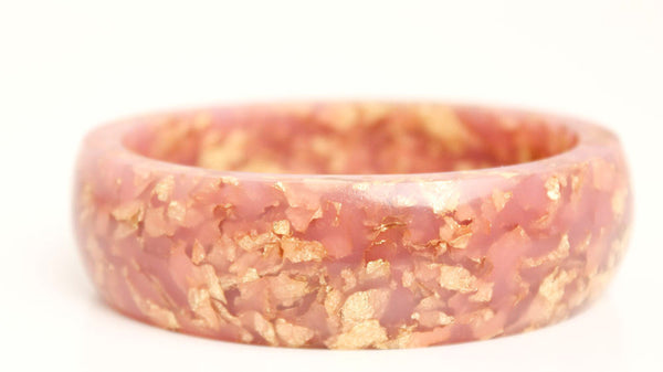 dusty rose oval eco resin bangle bracelet with gold leaf flakes