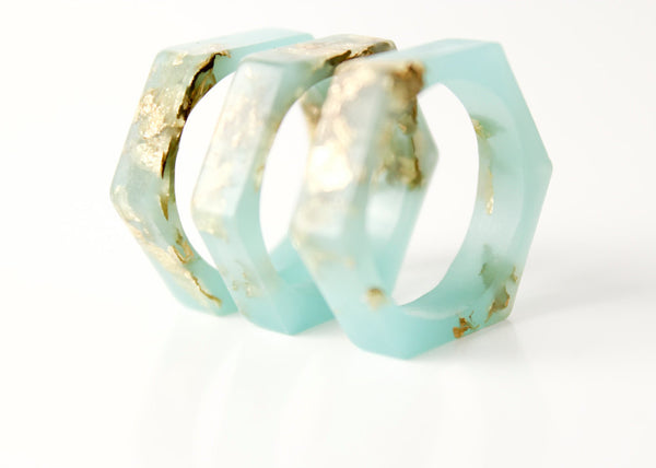 size 6 | hexagonal eco resin ring | aqua green resin with gold leaf flakes