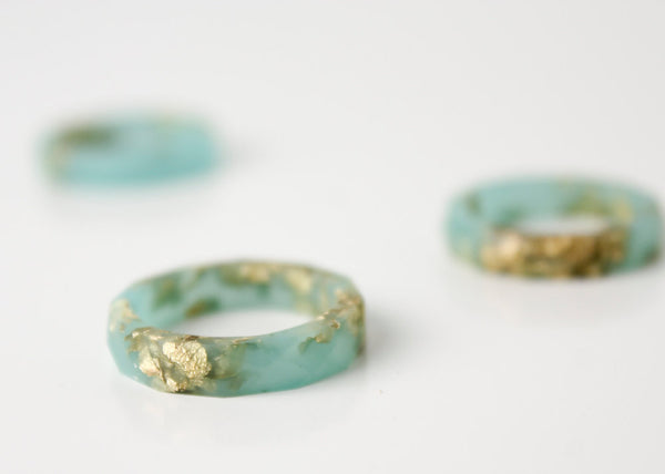 seafoam and gold size 6.5 thin multifaceted eco resin ring