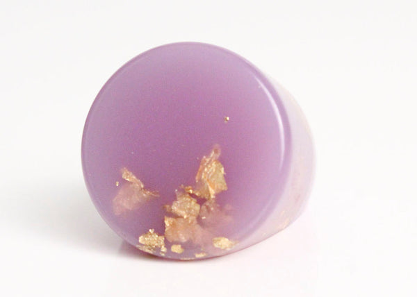 lavender purple eco resin circular ring featuring gold leaf flakes - size 5