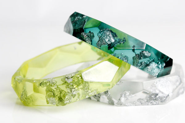 bangle - lemon lime eco resin bangle with silver flakes