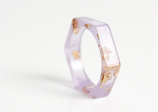 hexagon ring - pale lavender eco resin with gold leaf flakes - size 9