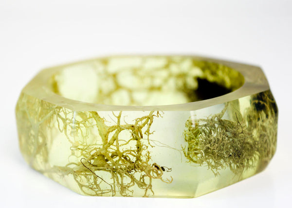 botanical jewelry - lichen and bark eco resin statement bangle
