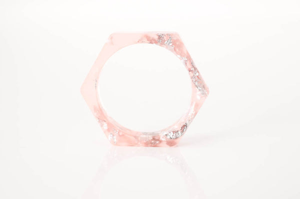 geometric ring size 9 hex eco resin ring - grapefruit pink with silver leaf flakes