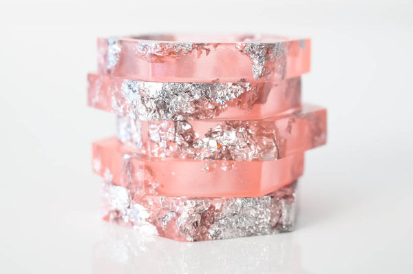 hexagon stacking ring size 7.5 eco resin | grapefruit pink with silver leaf flakes