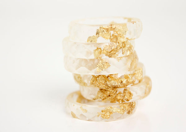 size 7.5 | thin multifaceted eco resin ring with metallic gold leaf | clear resin with gold flakes