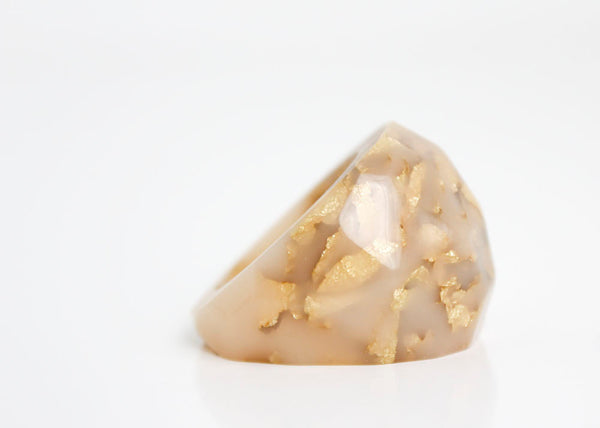 cocktail ring neutral nude size 7 soft faceted eco resin ring with suspended gold leaf