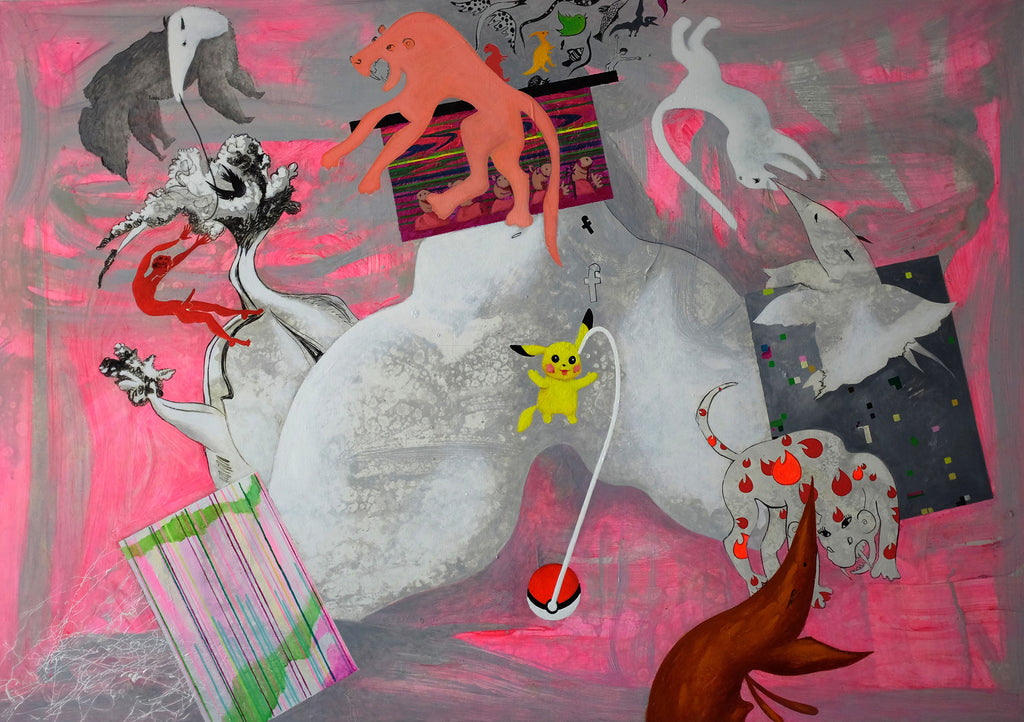 Anastasia Russa, Catching Pokemon (Per-version of the Myth Series), 2016, oil on canvas, 140 x 200 cm