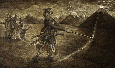 Anatoly Gankevich Samurai III (Fuji-golf series) canvas on oil 130 x 200 51,18 x 78,74 in 2014