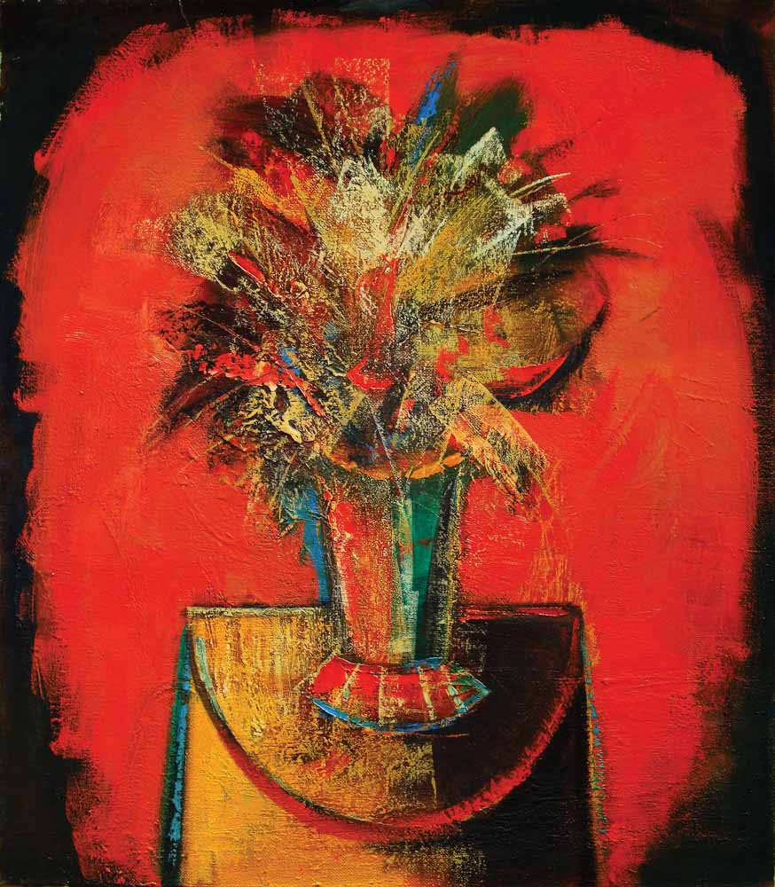 Yuri Grigoryan Bouquet on a red background, oil on canvas, 80×70, 2004
