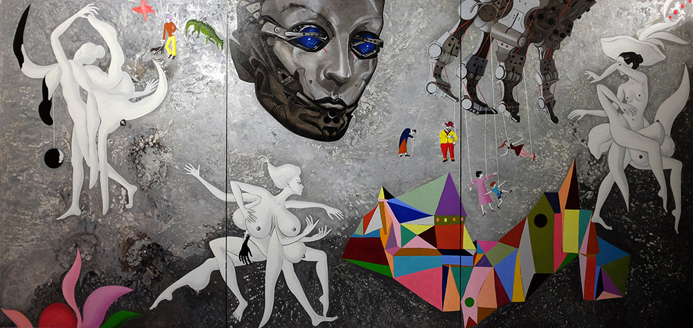"Anastasia Russa, Gray Universe. Triptych, (Per-version of the Myth Series), 2015, oil on canvas, 78,74 x 165,35"" (200 x 420 cm)"