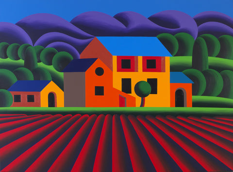 Oleg Khvostov Landscape with a house and a red field, 2016, acrylic on canvas, 140 x 190 cm