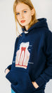 The Tooth - embroidered navy blue hoodie by Square Wombat