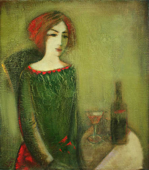 Yuri Grigoryan Girl in green, canvas, oil, 85х75, 1991