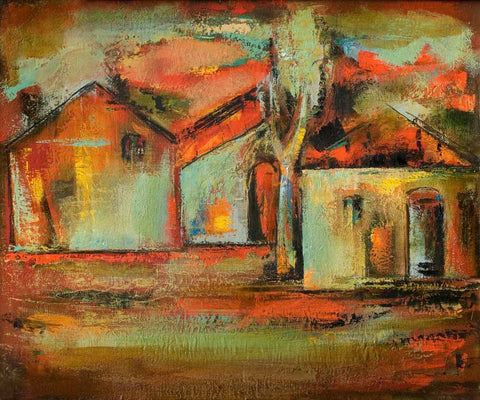 Yuri Grigoryan Red roofs, 50х60, oil on canvas, 2002