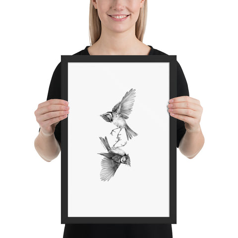 Tasha Gabeeva Secret signs. Crested tits Framed poster