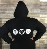 Team Nursing Zip up Hoody Black