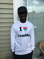 I ❤️ Gambia Long Sleeve White T-Shirt