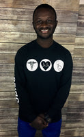 Team Nursing Long Sleeve Tees Black