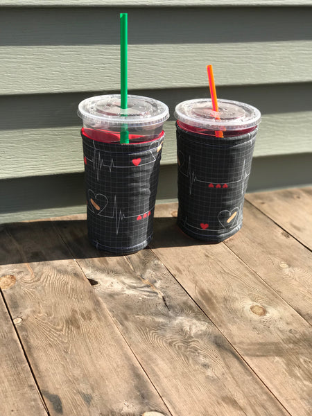 Drink Coozies EKG pattern-Black/Red