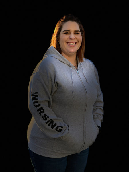 Team Nursing Zip-up Hoody-Sports Grey