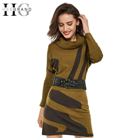 HEE GRAND 2016 Spring Women Knitted Dress Batwing Sleeve Sexy Long Turtleneck Striped Casual Loose Vestidos With Sashes WQL3344