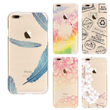 Soft Transparent tpu cases cover phone for iphone 7 case beautiful flower  Feather Seagull wintersweet pattern Soft Back Cover