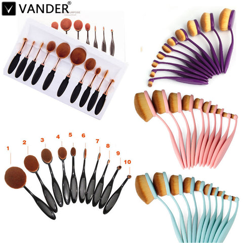 10 32 pcs/set Oval Toothbrush Blend Foundation Powder Makeup Brushes Set For Cream Fluid Beauty Kit maquiagem MULTIPURPOSE Tools