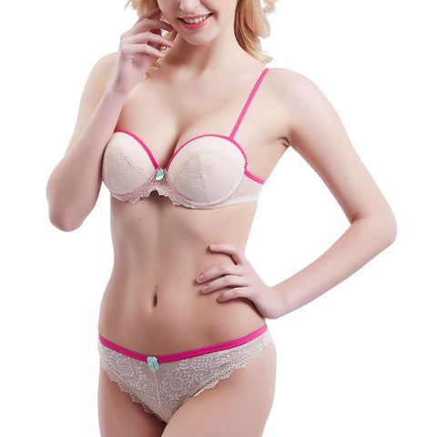 Shitagi Beige Lace Sexy Bra Embroidery Sweet Bra For Young Girl Push Up Flower Underwear Women Set Floral Lady Underclothes