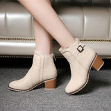 Plus Size 34-43 New Autumn winter short cylinder boots high heels boots Martin boots women Fashion zipper leather Ankle Boots