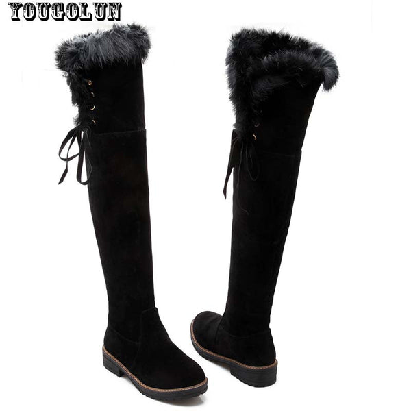 YOUGOLUN Winter Women Over The Knee Snow Boots Ladies Thigh High Boot Elegant Knot Woman Black Yellow Brown Snow Boots Low Heel