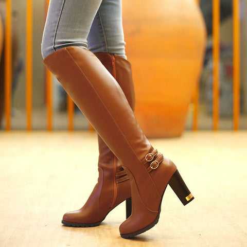 Hot Sale Women Boots Leather 2016 Womens Knee Hight Boots High heels Sexy Buckle Zipper Botas Mujer Woman Shoes Boots PU 43