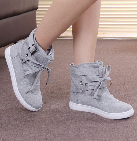 Plus size 35-41 Women Autumn Boots Solid Canvas Ankle Flat Boots For Women Casual Flat shoes Mujer Fashion Boots soft Ankle boot