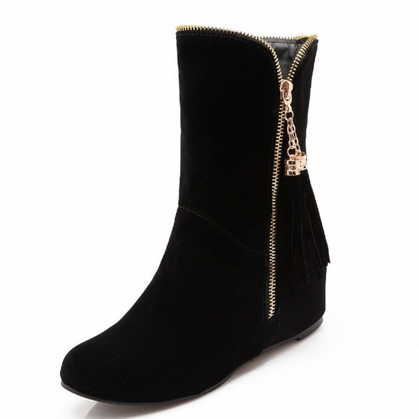 Big Size 32-50 Hot Sale Metal Zip Tassel Short Boots Hidden Wedges Fashion Women Boots botas Autumn Winter Boots Shoes Woman