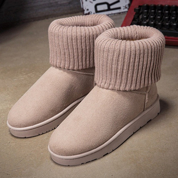 2016 New Women Winter Boots Suede Round Toe Snow Ankle Boots Waterproof Warm Winter Shoes Woman Fur Insole Free Botas