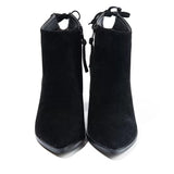 2016 New Autumn Winter Classic Women's Pointed Toe Square Heels Ankle Boots Ladies Hoof Heels Suede Leather Side Zipper Booties