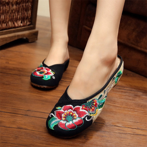 Spring&Summer Fashion Women's Shoes Chinese Style Flat with Casual Embroidery Sandals Retro Soft Sole Slippers Plus Size 41