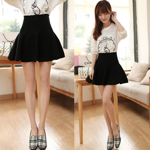 Women Casual Sexy Mini Skirt High Waisted Flared Pleated Jersey Plain Skater Short Knitted Elastic Skirts LH6s