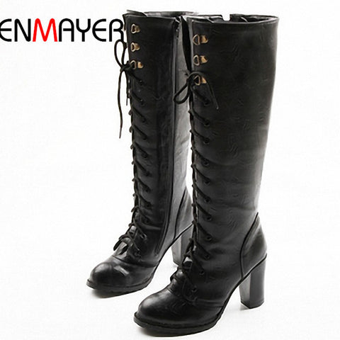 ENMAYER Fashion Lace Up Women's Platform Knee Boots for Ladies Long Boot Drop Shipping EUR Size 34-43 on Sale