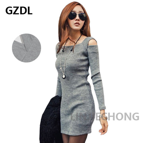 Fashion Winter Women Sweater Dress Women Clothes Ladies Long Sleeve Knitted Bodycon Stretch Party Casual Dress Black Gray CL1114