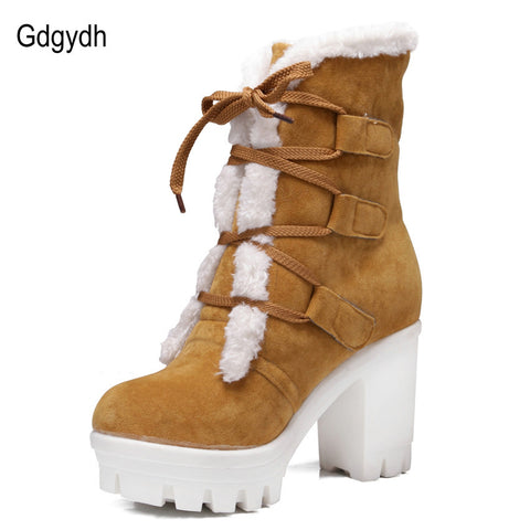 Hot Sale 2016 New Winter Thick Thermal Plush Snow Boots Woman High-heeled Shoes Lacing Casual Women's Shoes Warm Plus Size 43