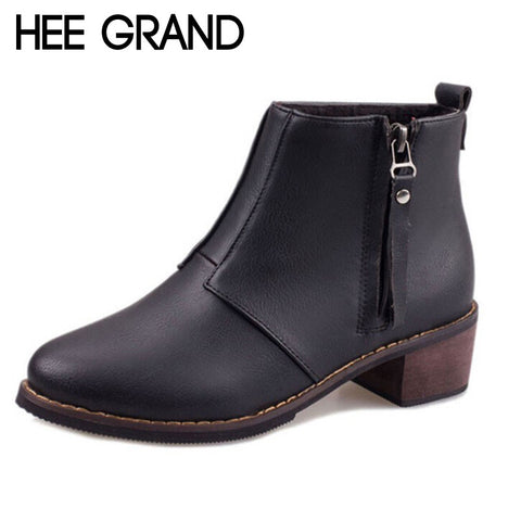 HEE GRAND Brand Hot Sale! Women Ankle Boots Fashion Women Martin Boots Thick Heel  Boots for Women Drop Shipping XWX2250