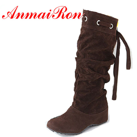 ANMAIRON Hot Sale Boots 4 ColorS Half Boots Women Lady Boot Winter Footwear Wedge Shoes Fashion Sexy Snow Warm EUR Size 34-43